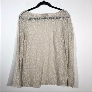 Loft Size Medium Sheer Embroidered Blouse